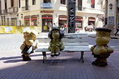 Mafalda statue in San Telmo at Buenos Aires, Argentina royalty free stock photos