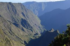 Mafate volcanic caldera in the island of Réunion. The Cirque de Mafate is a caldera on Réunion Island France; located in the Indian Ocean. It was stock image