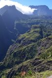 Mafate volcanic caldera in the island of Réunion. The Cirque de Mafate is a caldera on Réunion Island France; located in the Indian Ocean. It was royalty free stock photography