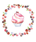 Maffin pink round watercolor. Illustration of a watercolor sketch of muffins with  round frame of berries color pink in white background Stock Photo