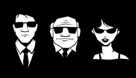 Mafia. Three person in glasses and suit. Vector Royalty Free Stock Photos