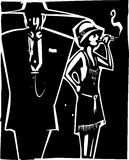 Mafia Boss and Moll. Woodcut syle image of a woman in a flapper dress smoking and a man in a Zoot Suit Royalty Free Stock Photos