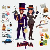 Mafia character design, male and female with icon set. undergrou. Nd gangster concept -  illustration Royalty Free Stock Photos