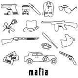 Mafia criminal black outline symbols and icons set Royalty Free Stock Image