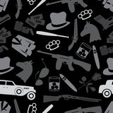 Mafia criminal black symbols and icons seamless pattern eps10 Royalty Free Stock Images