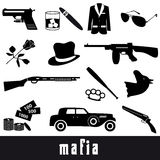 Mafia criminal black symbols and icons set eps10 Royalty Free Stock Images