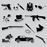 Mafia criminal black symbols and stickers set eps10 Royalty Free Stock Photo
