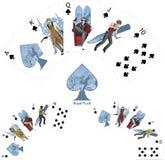 Mafia de la combinación del póker de las espadas de la escalera real que gana Imagen de archivo