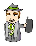 MAFIA FATHER 02. Italian style mafia Father with cell phone stock illustration