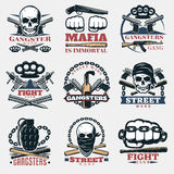 Mafia Fight Emblems In Color Royalty Free Stock Images