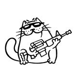 Mafia fighting cat with a submachine gun is ready for war. Vector Illustration. Mafia fighting cat with a submachine gun is ready for war. Cute mafiosi cartoon Stock Photos