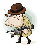 Mafia Gangster with Gun. Detailed  illustration in isolated in white Royalty Free Stock Photos