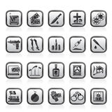 Mafia, Gangster and organized criminality activity icons Royalty Free Stock Photos