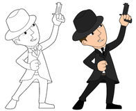 Mafia guy cartoon. Mobster with gun illustration, coloring book line-art Royalty Free Stock Photos