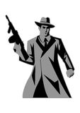 Mafia. Illustration of a man holding a tom gun Stock Photography