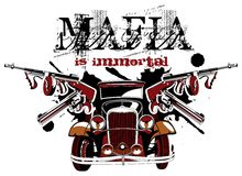 Mafia is immortal. Grotesque ial vignette on theme of mafia with inscription Mafia is immortal. No gradients and blends Royalty Free Stock Image