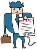 Mafia malvada del loanshark del hombre de negocios con el contrato Fotografía de archivo libre de regalías