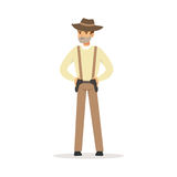 Mafia man character in brown fedora hat holding for two pistols under belt vector Illustration. Isolated on a white background Royalty Free Stock Photo