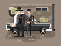 Mafia man character. Gangster crime, criminal people, killer with gun, vector illustration Stock Images