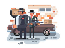 Mafia man character. Gangster crime, criminal people, killer with gun, vector illustration Royalty Free Stock Image