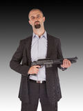 Mafia man is holding a shotgun Royalty Free Stock Image