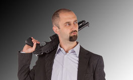 Mafia man is holding a shotgun Royalty Free Stock Photography