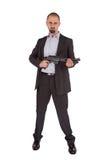 Mafia man is holding a shotgun Royalty Free Stock Photos