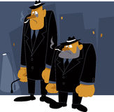 Mafia never sleeps. Two cartoon mafia thugs standing on night urban background, vector illustration, no transparencies, EPS 8 Royalty Free Stock Photo