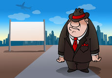 Mafia occupation. Illustration of a mafia man stand in road on city day light background Royalty Free Stock Image