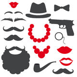 Mafia props set. Party gangster birthday photo booth props. Hat and mustache, beard, lips and beads, gun and  bow tie, tube. Vector illustration mafia photo Stock Photo