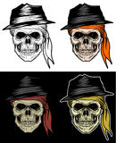 Mafia Skull Head, Gangster Skull, Hand Drawing. Mafia Skull Head Wearing Hat and Bandana, Gangster Skull, Hand Drawing With 4 variation Color, line out, shadow Stock Photos