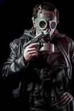 Mafia, thief, armed man with black leather jacket, dangerous Royalty Free Stock Images