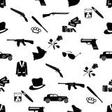 Mafijni kryminalni czarni symbole i ikona bezszwowy wzór Obrazy Stock