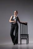 Mafiosi woman with brandy. Fashion photo Stock Image