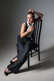Mafiosi woman with brandy. Fashion photo Stock Photography