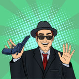 Mafioso with Gun. Retro Mafia Man. Pop Art Mafia Boss. Stock Photography