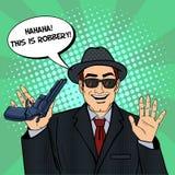 Mafioso with Gun. Retro Mafia Man. Pop Art Mafia Boss Stock Photos