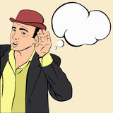 Mafioso in hoed die aan het nieuws luisteren Stock Afbeelding