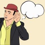 Mafioso im Hut hörend auf die Nachrichten Stockbild