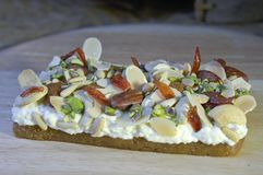 Mafrooka, Arabic Sweets of Cream and Nuts for Ramadan and Eid. Mafrooka, Arabic Sweets with Cream and Nuts for Ramadan and Eid Stock Photos