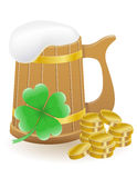 Mag beer clover and coins St. Patrick`s day  Stock Photos
