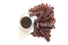 Mag and chocolate. Coffee cup and chocolate on a white background Stock Photography