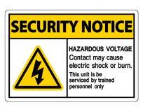 Mag het Gevaarlijke het Voltagecontact van het veiligheidsbericht Elektrische schok of Brandwondteken op Witte Achtergrond, Vecto vector illustratie