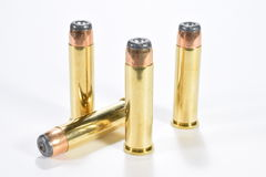 357 mag rounds. Four rounds of 357 magnum pistol ammunition stock photo