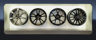 Mag Wheel display. In a public hallway Stock Images