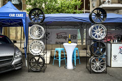 Mag Wheels display. Exposed in a street for the Montreal Grand Prix 2016 Royalty Free Stock Image