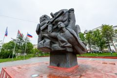 Architecture of Magada, Russian Federation. MAGADAN, RUSSIA - JUL 4, 2014: Monument in Magadan, Russia. Magadan was founded in 1929 and now it's the royalty free stock images
