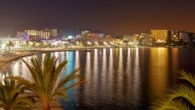 Magaluf strand på natten Arkivbilder