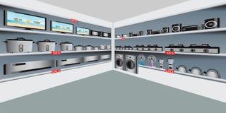Magasin électronique avec le matériel électrique sur des étagères illustration stock