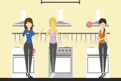 Magasin d'électro-ménagers avec des visiteurs illustration libre de droits